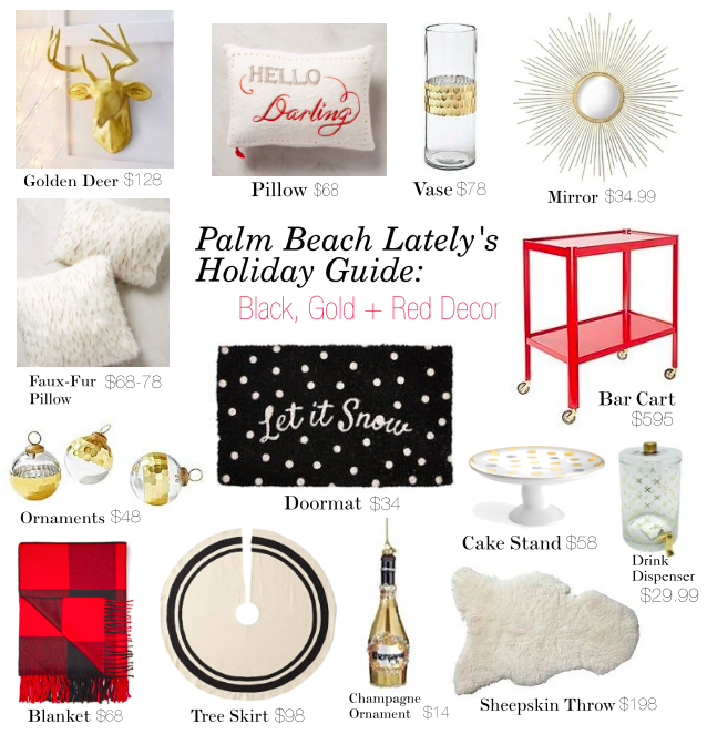 holiday guide: black, gold + red decor | palm beach lately