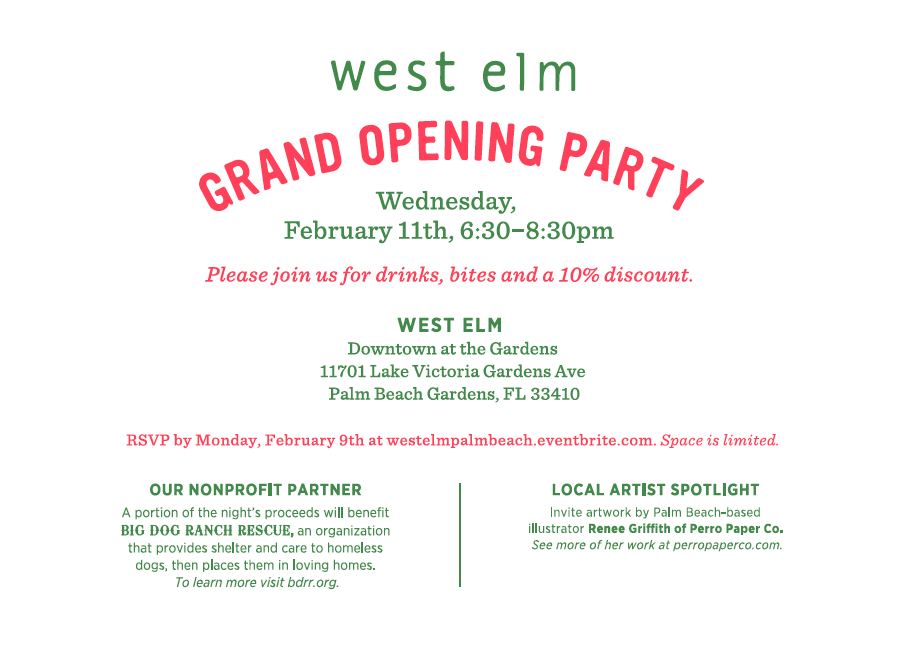 Palm Beachs NEW West Elm Grand Opening Party – Grand Opening Party Invitations