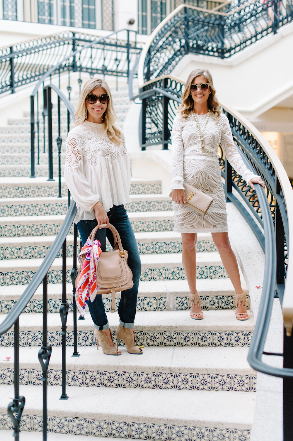 white_lace_dress_blouse_jeans_fringe_heels_clutch_handbag_booties_sunglasses_scarf
