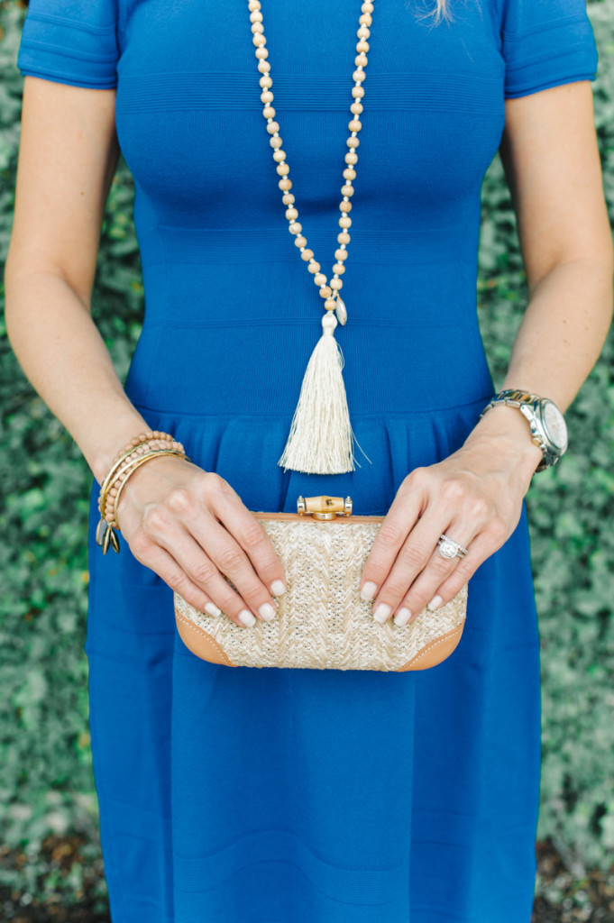 blue_dress_clutch_tassel_necklace_palm_beach