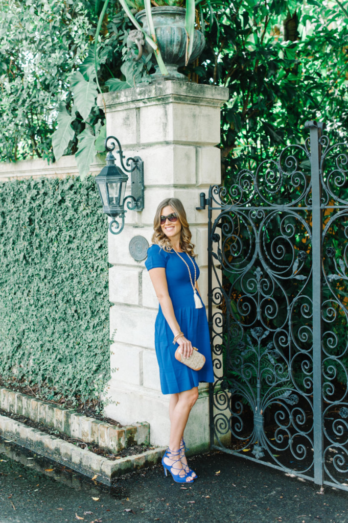 blue_dress_heels_clutch_sunglasses_necklace_palm_beach