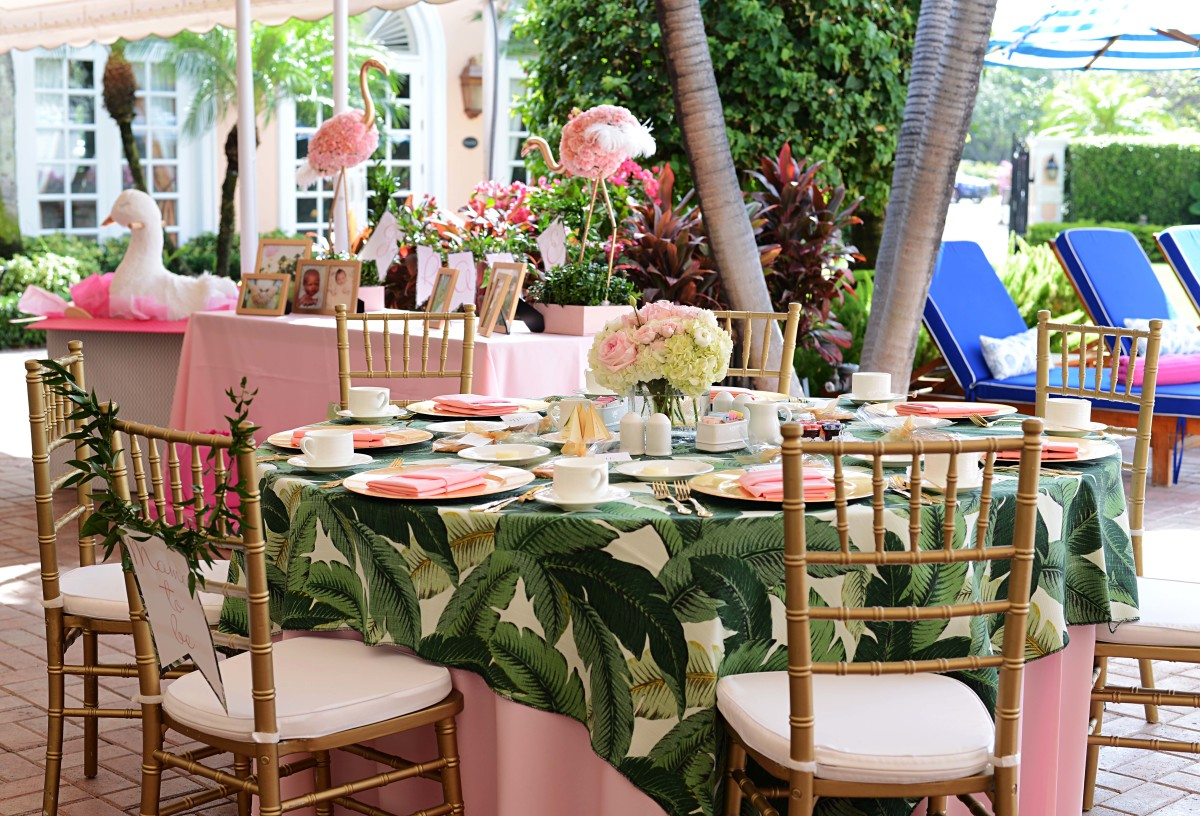 Eclectic Dining Room Chairs Beth S Flamingo Inspired Baby Shower Palm Beach Lately