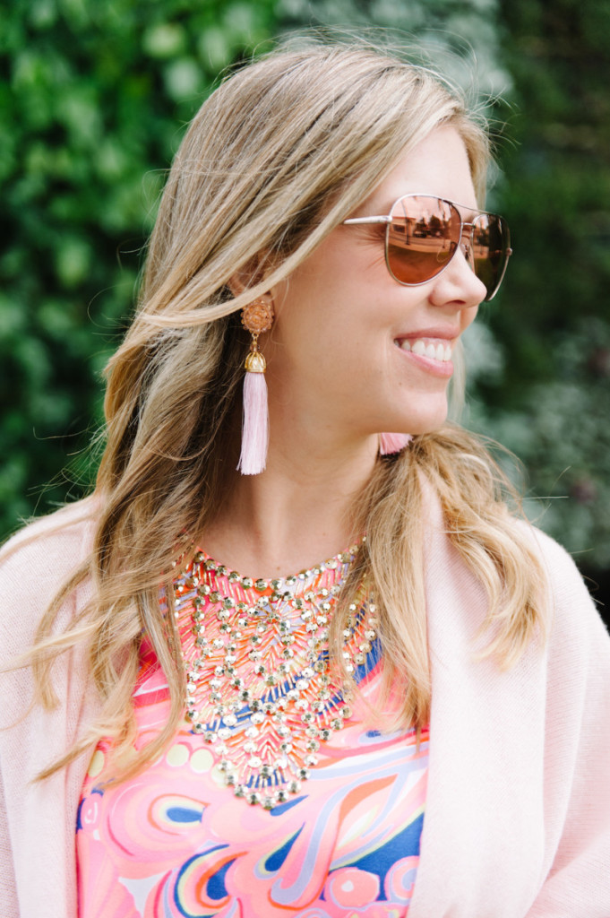 palm_beach_worth_avenue_pink_lilly_pultizer_dress_cashmere_wrap_aviators_tassel_earrings