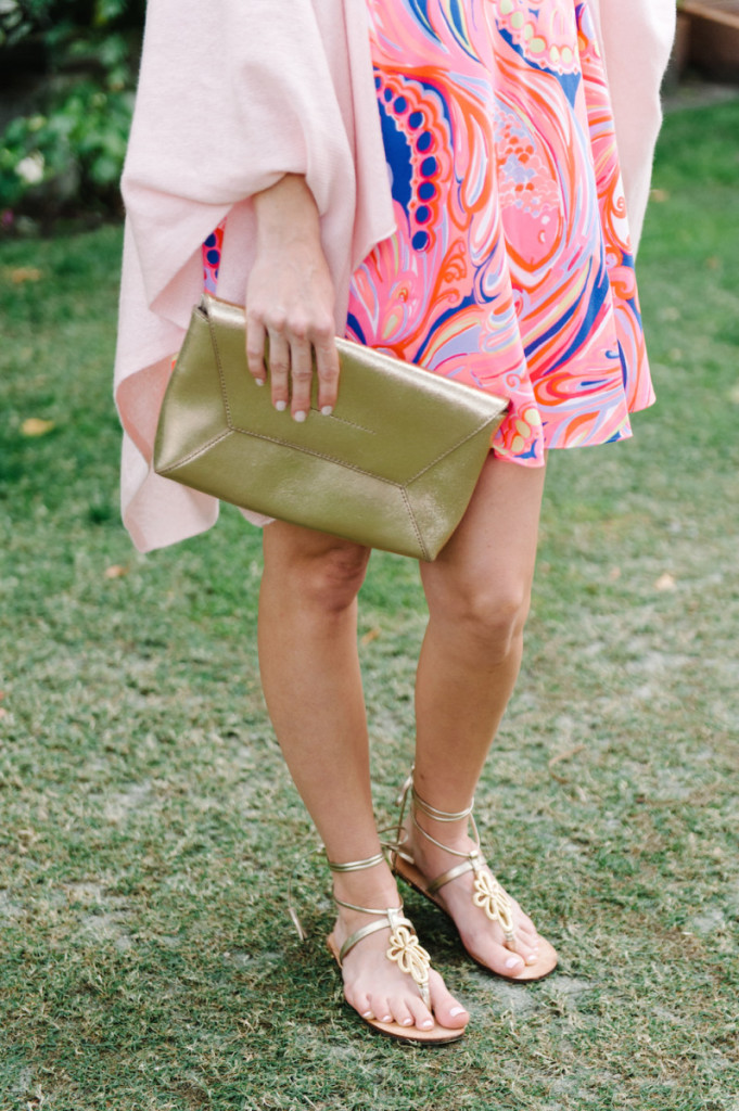 palm_beach_worth_avenue_pink_lilly_pultizer_dress_cashemere_wrap_gold_clutch_gladiator_sandals