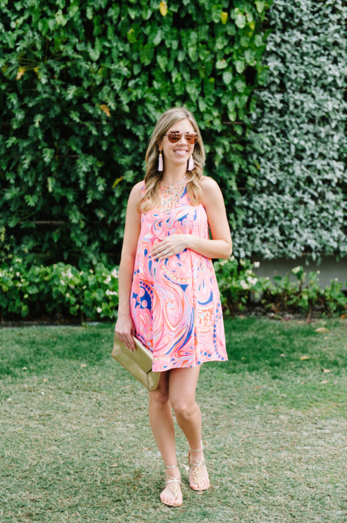 palm_beach_worth_avenue_pink_lilly_pultizer_dress_gold_clutch_aviators_tassel_earrings_gladiator_sandals