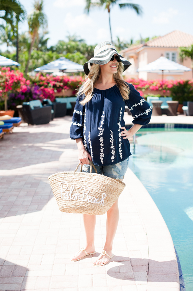 maternity_navy_top_jean_shorts_striped_sun_hat_straw_tote_pool_the_colony_hotel_palm_beach_lately