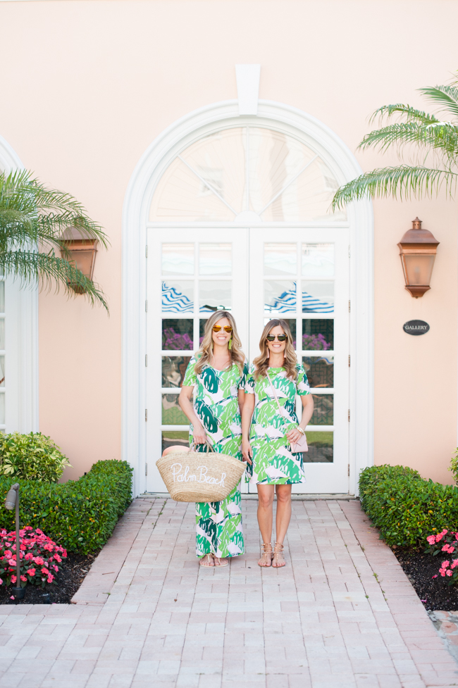 pink_green_banana_leaf_dress_straw_tote_the_colony_hotel_palm_beach_lately