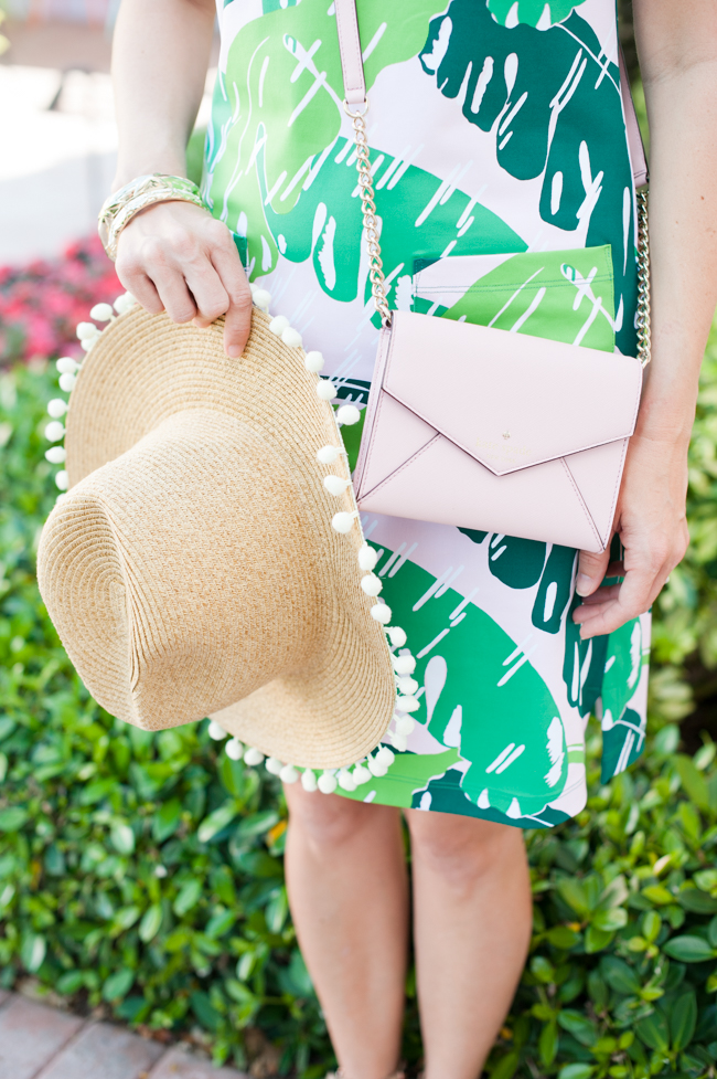 pink_green_banana_leaf_dress_bag_pom_pom_hat_the_colony_hotel_palm_beach_lately