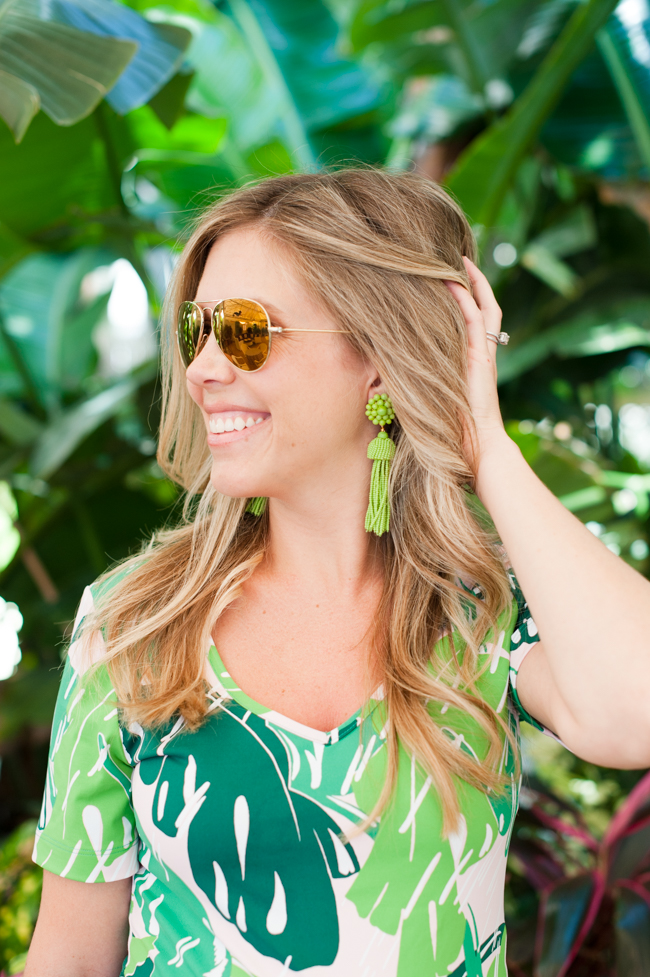 pink_green_banana_leaf_dress_tassel_earrings_sunglasses_the_colony_hotel_palm_beach_lately