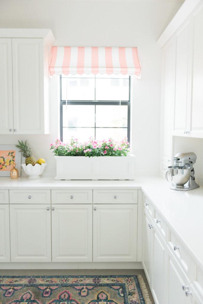 Palm Beach Lately Pink and White Cabana Stripe Kitchen Awning