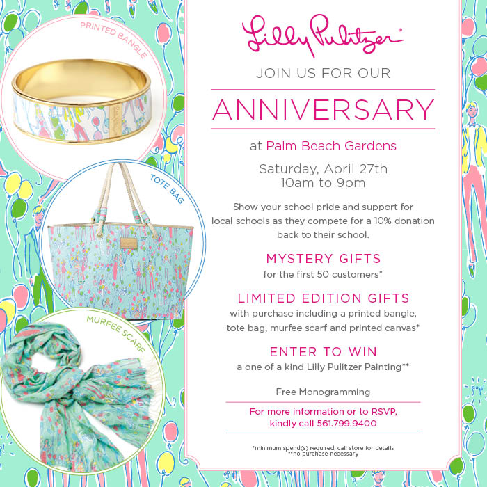 This weekend, join us to celebrate the anniversary of Lilly Pulitzer's Palm Beach Garden's store! Shop the boutique tomorrow from 10 am to 9 pm at The ...