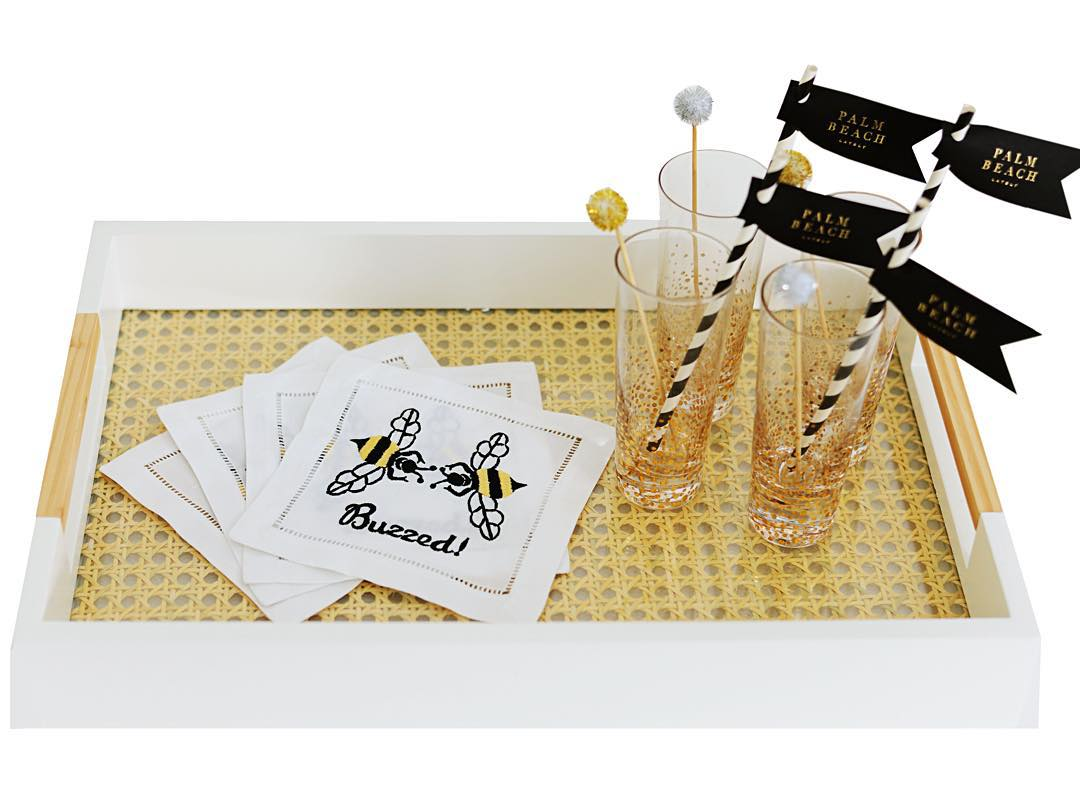 "Tonight's giveaway is these fun ""Buzzed Bee"" napkins from @pioneerlinens! How to enter: 1. Follow @pioneerlinens and @palmbeachlately 2. ""Like"" this photo and tag your fave cocktail companion. Giveaway runs until next Tues. 11/16 at midnight EST. p.s. they are also avail to purchase #tapandtagtuesday"