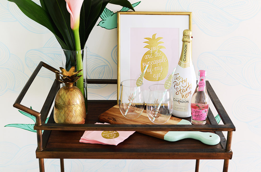 bar_cart_pineapple_gold_pink_glasses_straws_