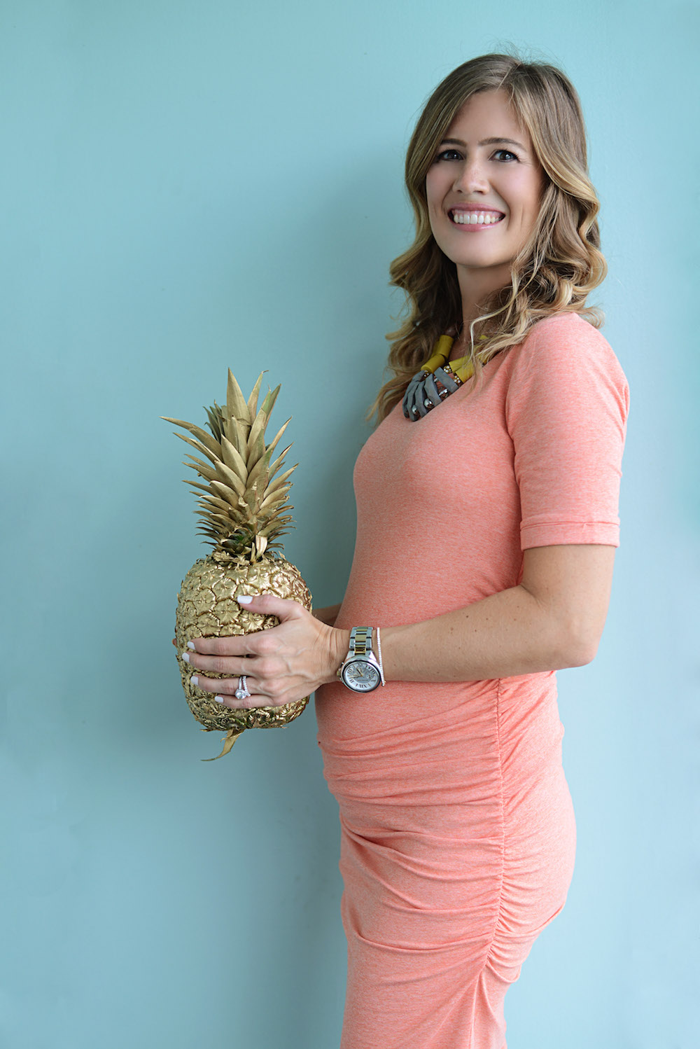 gold_pineapple_pink_dress_baby_bump