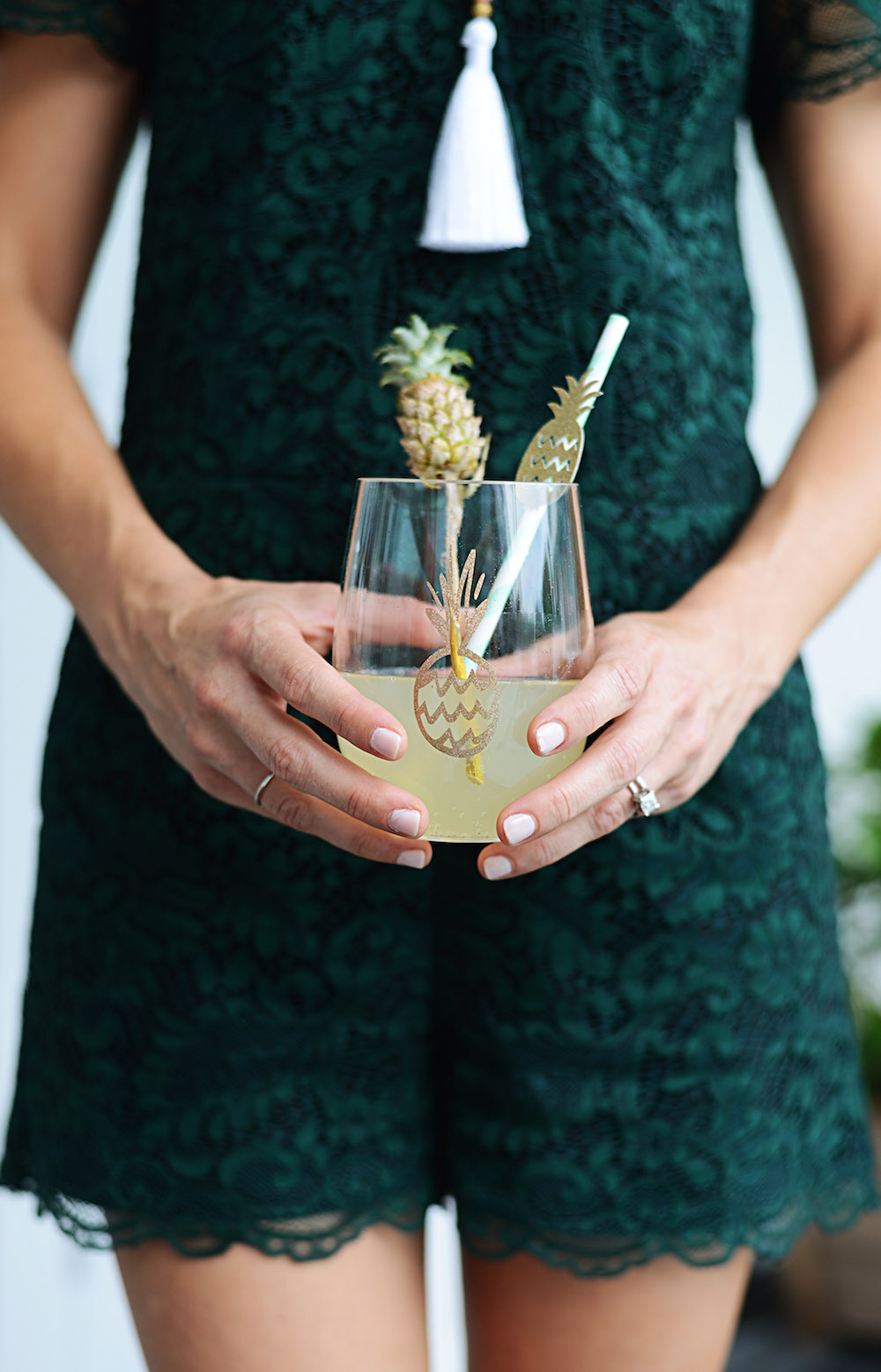 green_lace_romper_pineapple_cocktail_straw