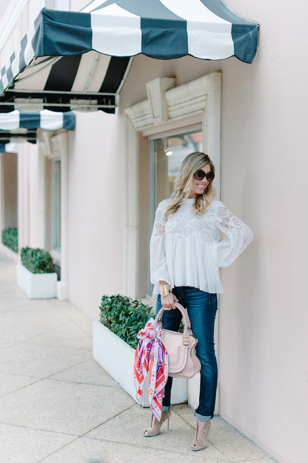 white_blouse_jeans_handbag_booties_sunglasses_scarf