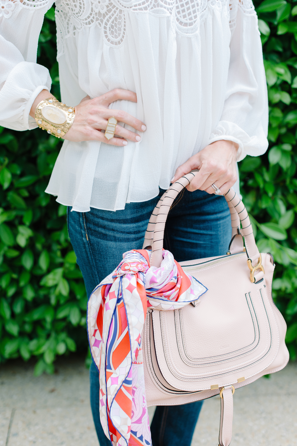 white_blouse_jeans_handbag_scarf_ring_bracelet
