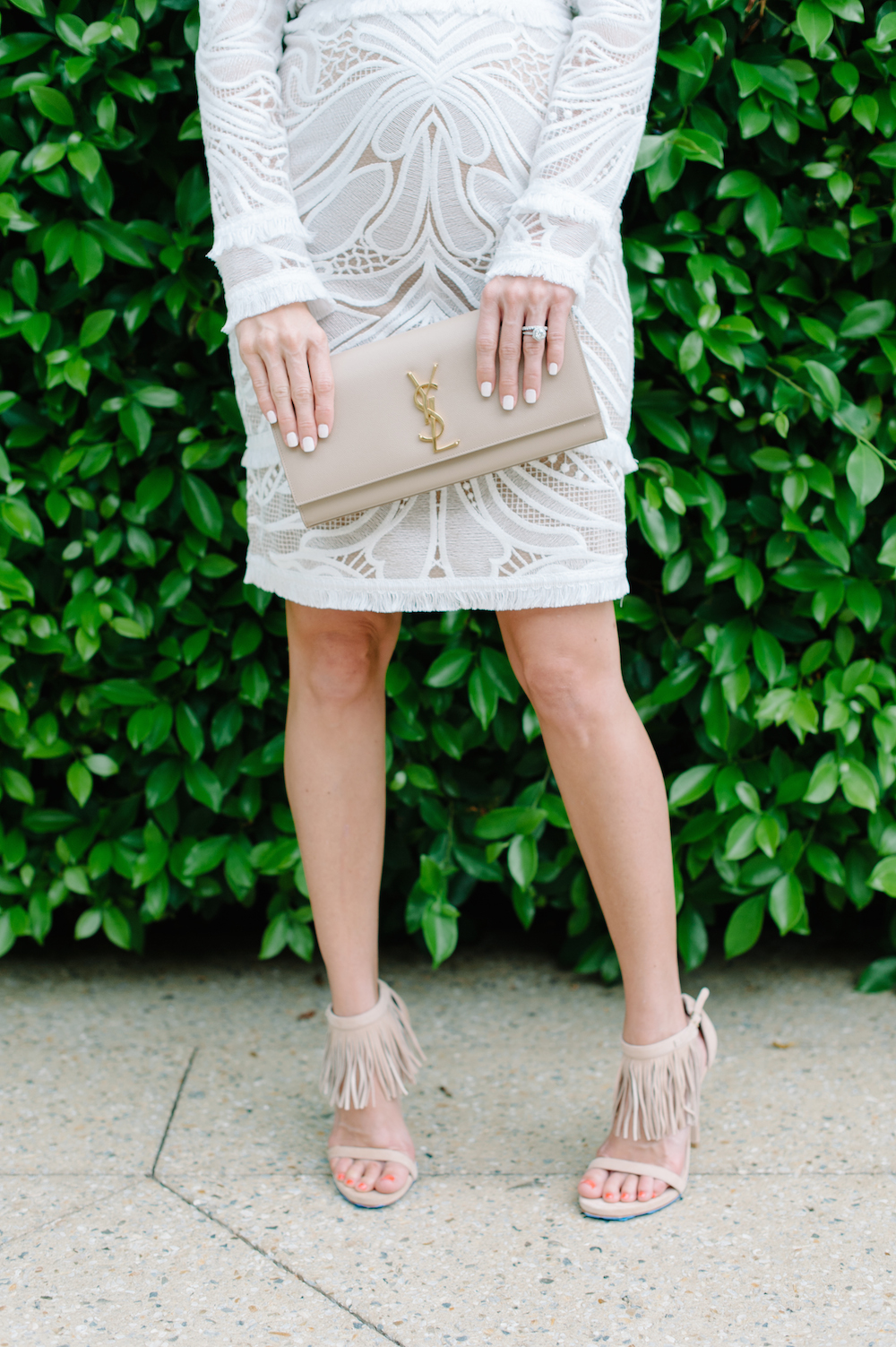 white_dress_fringe_heels_YSL_clutch