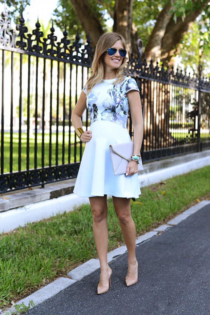 floral_dress_blue_clutch_sunglasses_flagler_museum