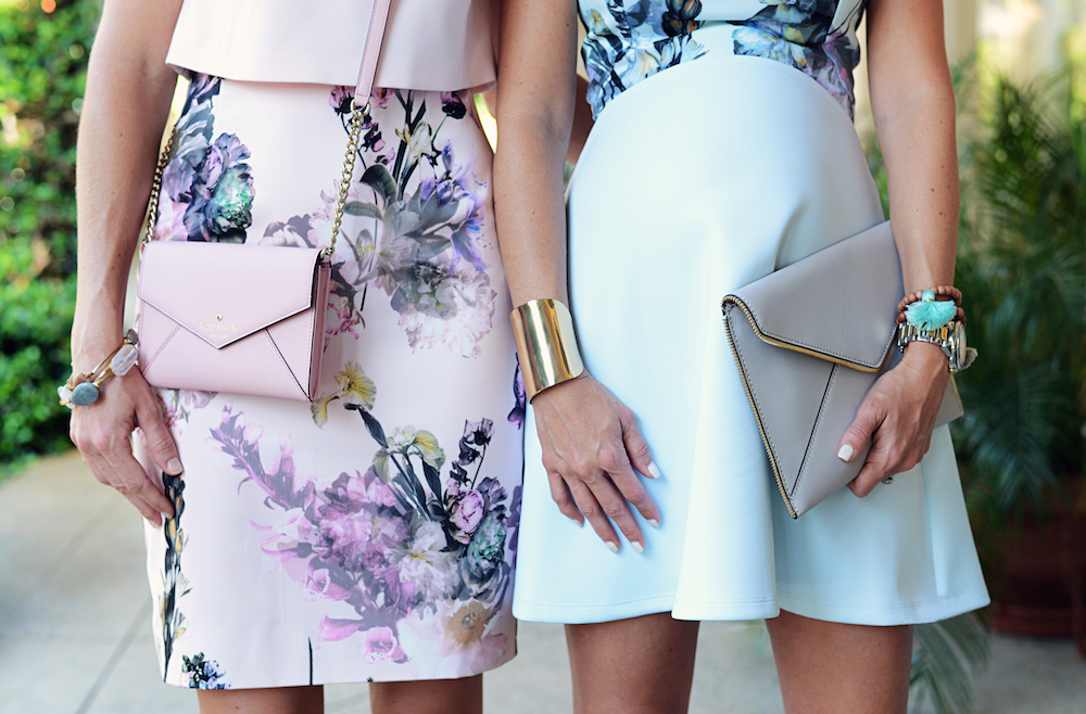 floral_dresses_pink_blue_bag_clutch_bracelets_flagler_museum