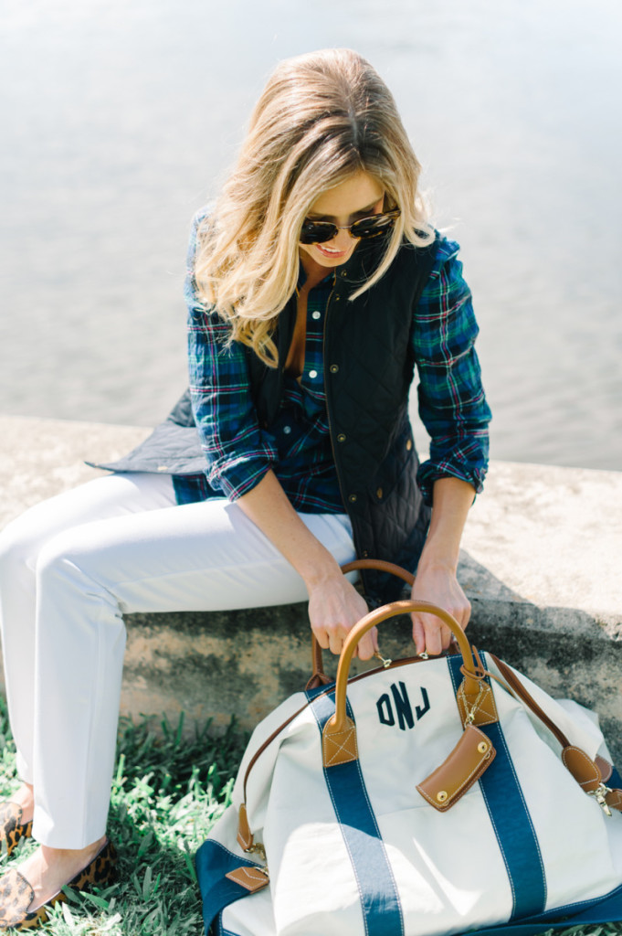 blue_vest_blouse_white_pants_leopard_shoes_monogrammed_bag_sunglasses_palm_beach