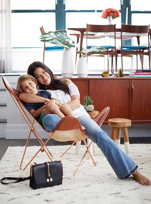 one kings lane_rebecca minkoff_REBECCA WITH LUCA IN BUTTERFLY CHAIR
