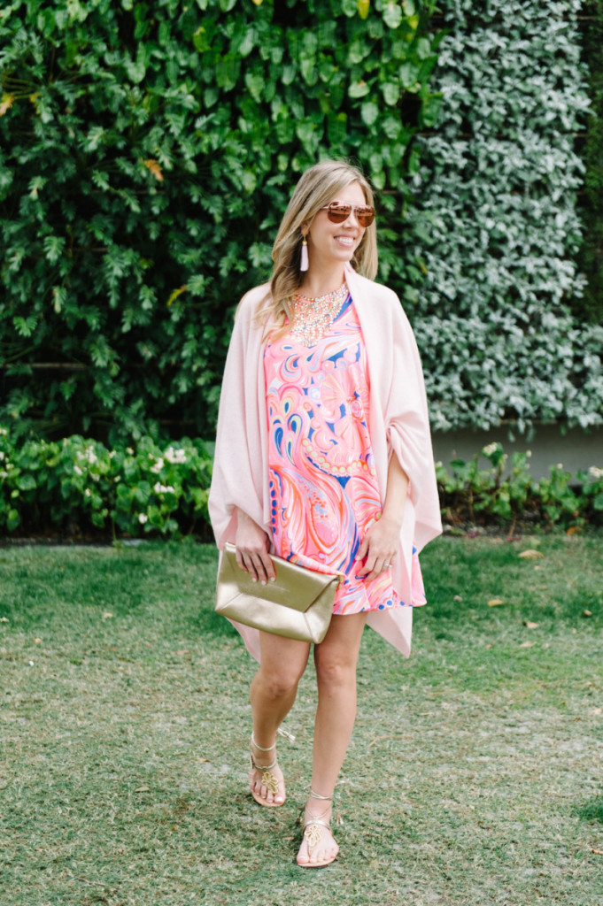 palm_beach_worth_avenue_pink_lilly_pultizer_dress_cashmere_wrap_gold_clutch_aviators_tassel_earrings_gladiator_sandals
