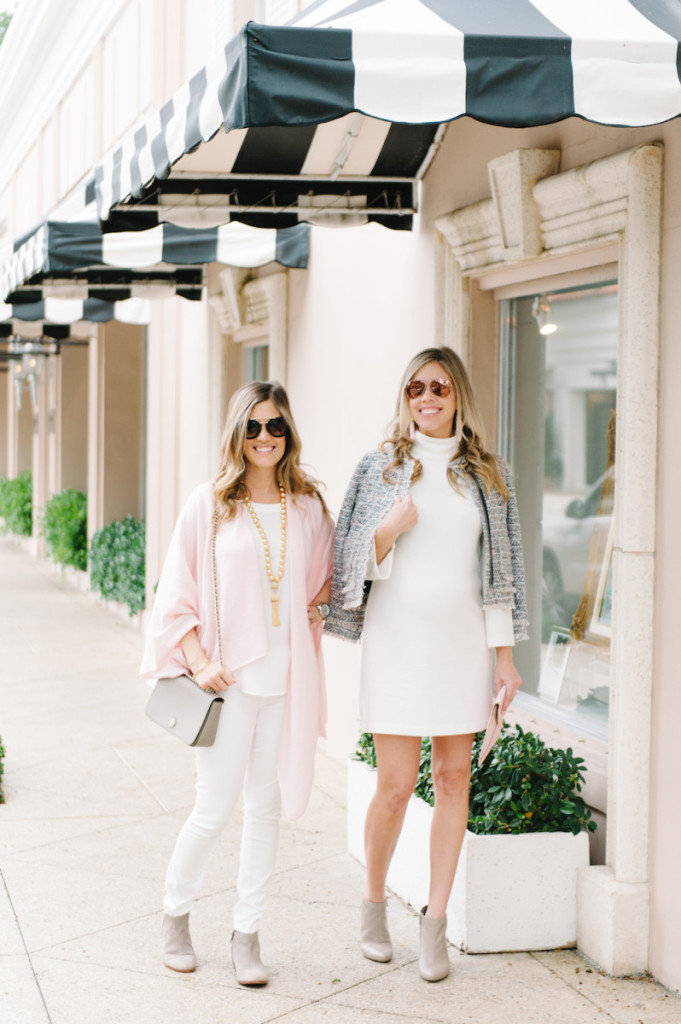 winter_outfits_worth_avenue_palm_beach_white_dress_tweed_jacket_blush_cashmere_wrap_booties_sunglasses_bags