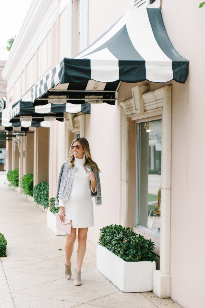 winter_outfit_worth_avenue_palm_beach_white_dress_tweed_jacket_booties_sunglasses_pink_clutch