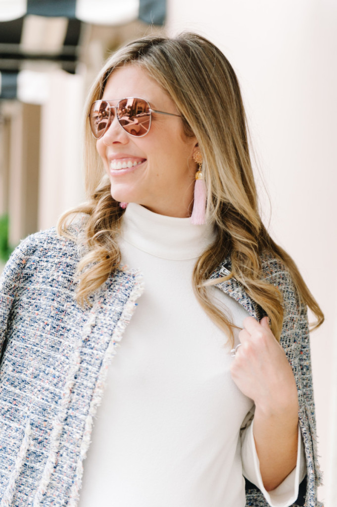winter_outfit_worth_avenue_palm_beach_white_dress_tweed_jacket_pink_tassel_earrings_sunglasses