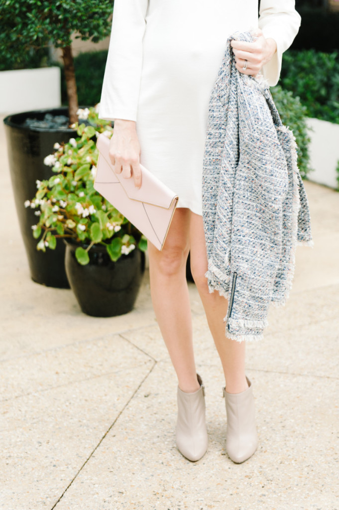 winter_outfit_worth_avenue_palm_beach_white_dress_tweed_jacket_booties_pink_clutch
