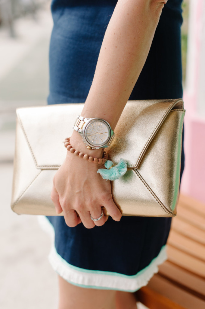 palm_beach_lately_fashion_sail_to_sable_dress_gold_clutch_beaded_tassel_bracelet_spring_ice_cream