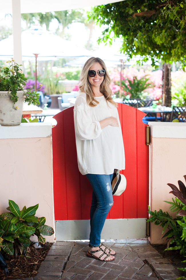 maternity_white_shirt_jeans_sunglasses_red_gate_the_colony_hotel_palm_beach_lately