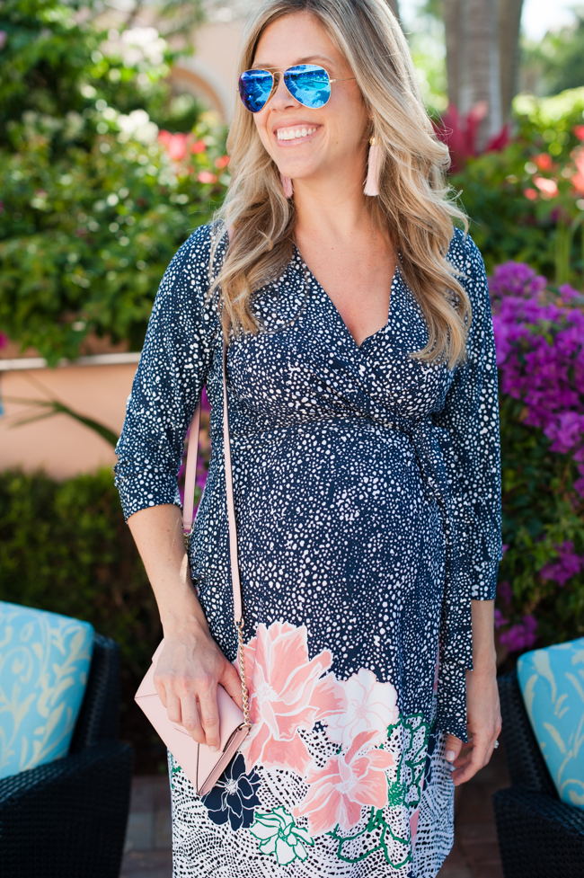 maternity_dress_navy_blush_bag_tassel_earrings_blue_aviators_flowers_the_colony_hotel_palm_beach_lately