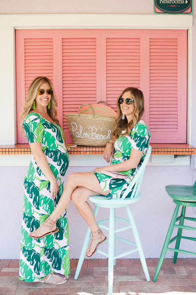 pink_green_banana_leaf_dress_straw_tote_sunglasses_tassel_earrings_the_colony_hotel_palm_beach_lately