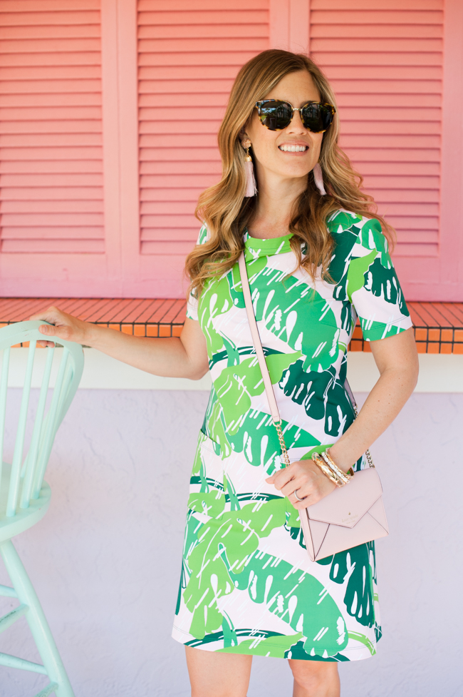 pink_green_banana_leaf_dress_bag_tassel_earrings_sunglasses_the_colony_hotel_palm_beach_lately