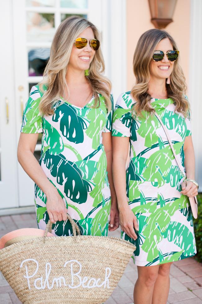 pink_green_banana_leaf_dress_straw_bag_tassel_earrings_sunglasses_the_colony_hotel_palm_beach_lately