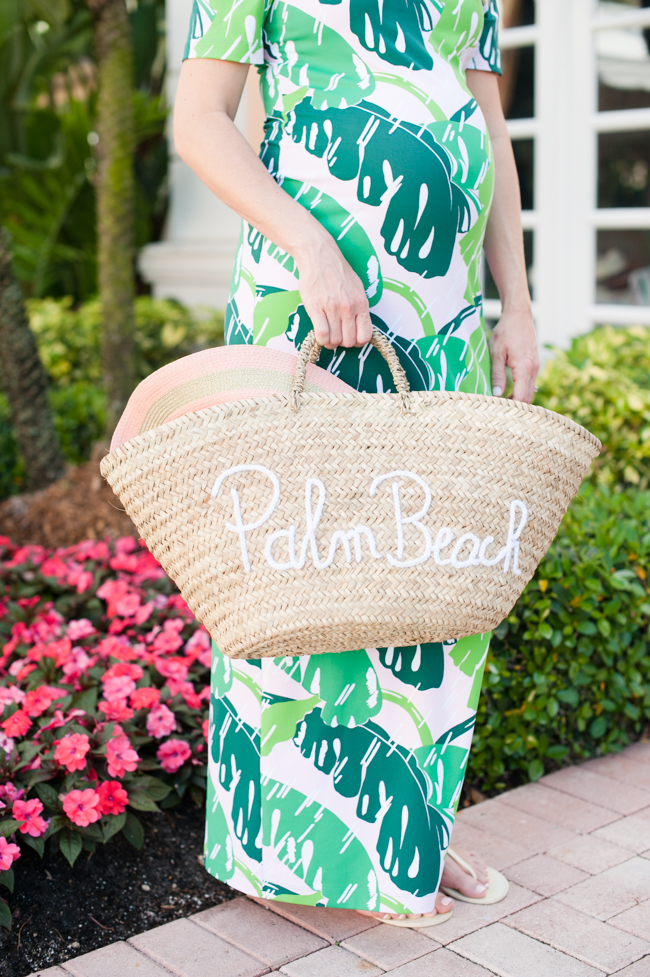 pink_green_banana_leaf_dress_straw_bag_sun_hat_the_colony_hotel_palm_beach_lately