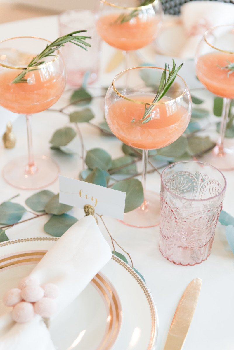Blush and gold holiday tablescape