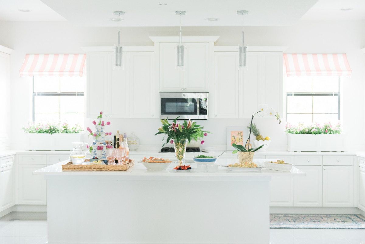 Palm Beach Lately Pink and White Cabana Stripe Kitchen Awning