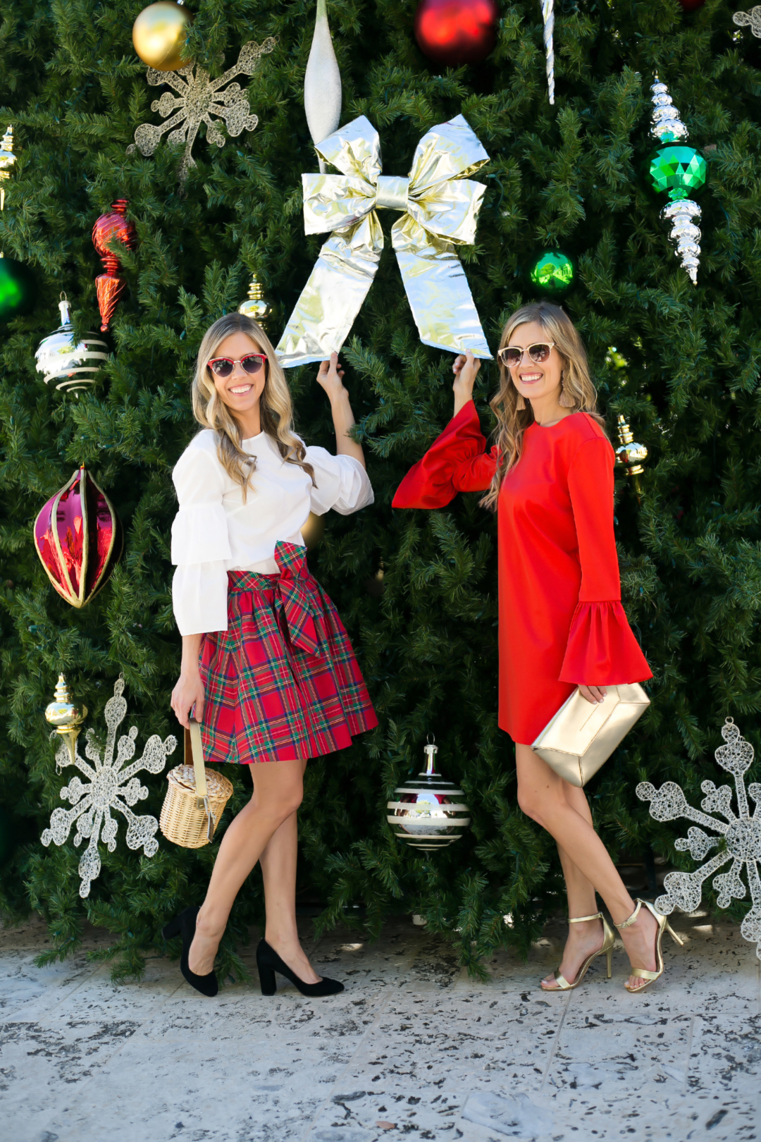 Palm Beach Lately in tartan plaid and bell sleeves