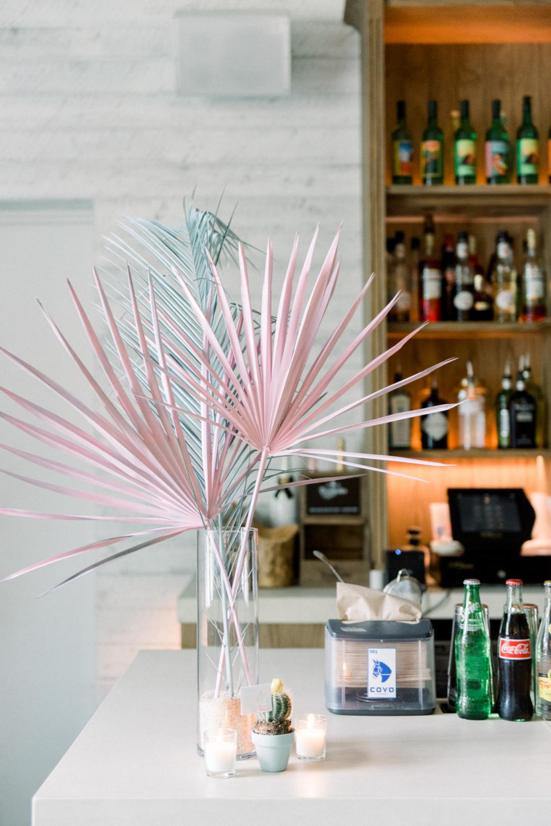 pink palm leaf
