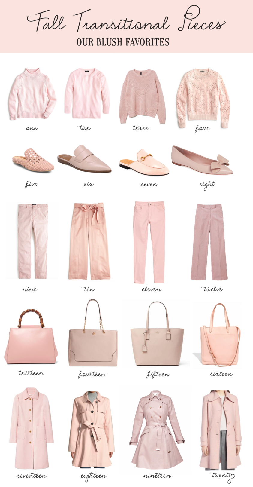 fall blush transitional pieces