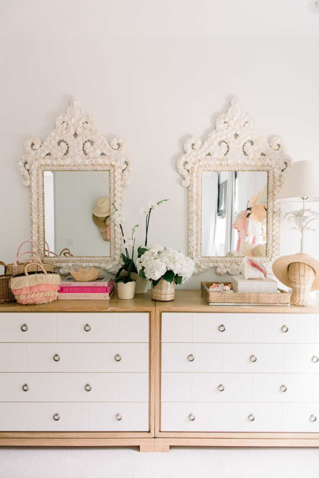 blush and shell dresser decor