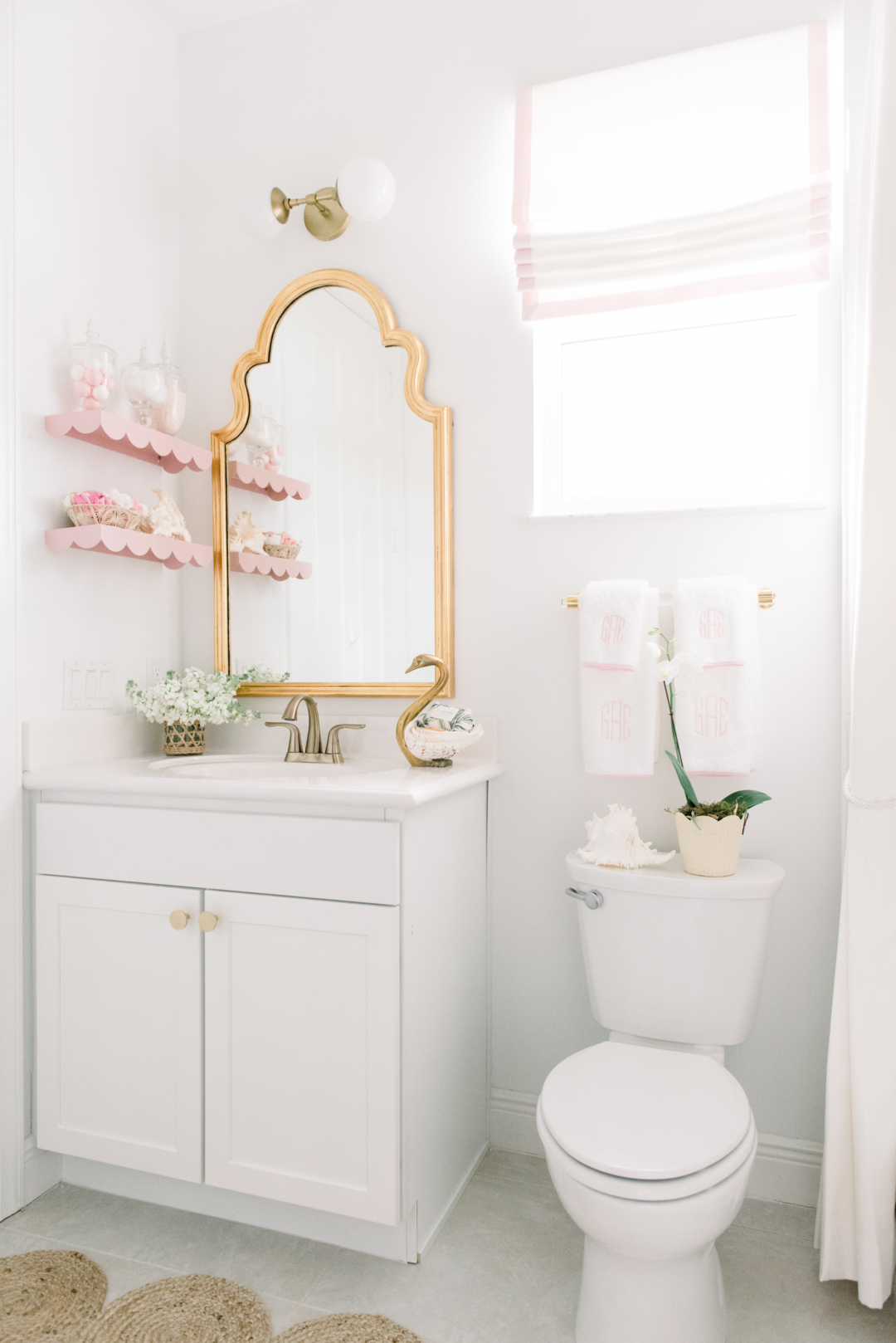 Home Blush And Brass Bathroom Palm Beach Lately