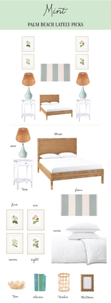 Rattan and mint guest room