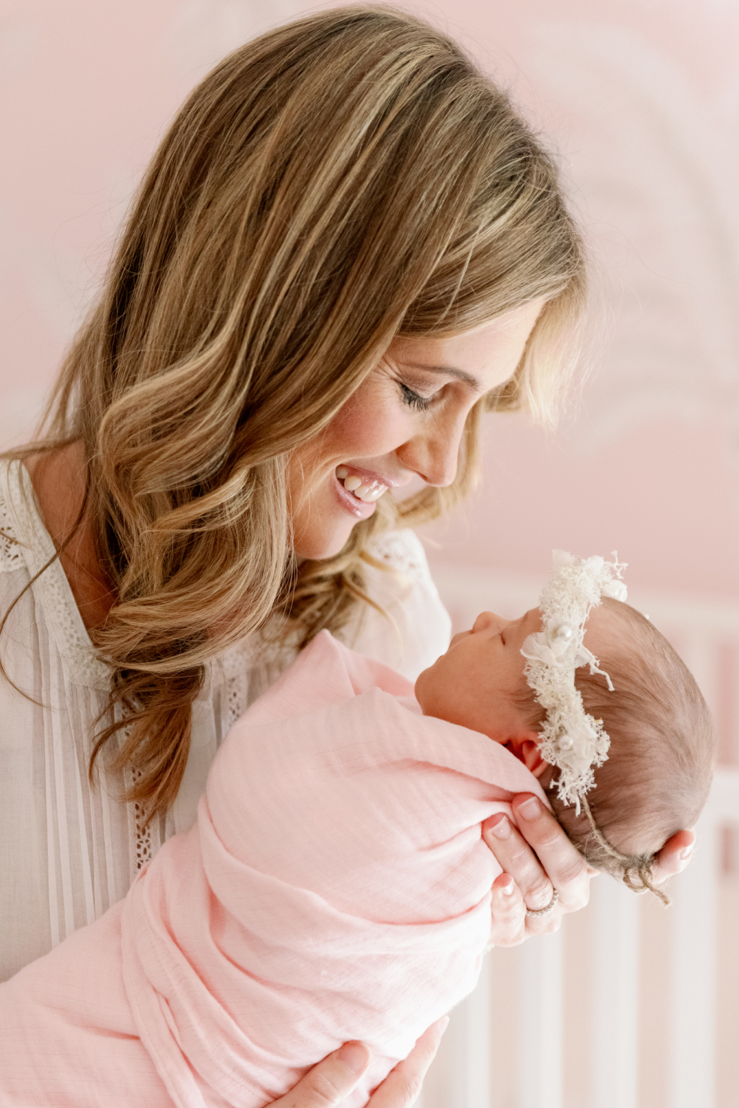 Pink and shell newborn photography