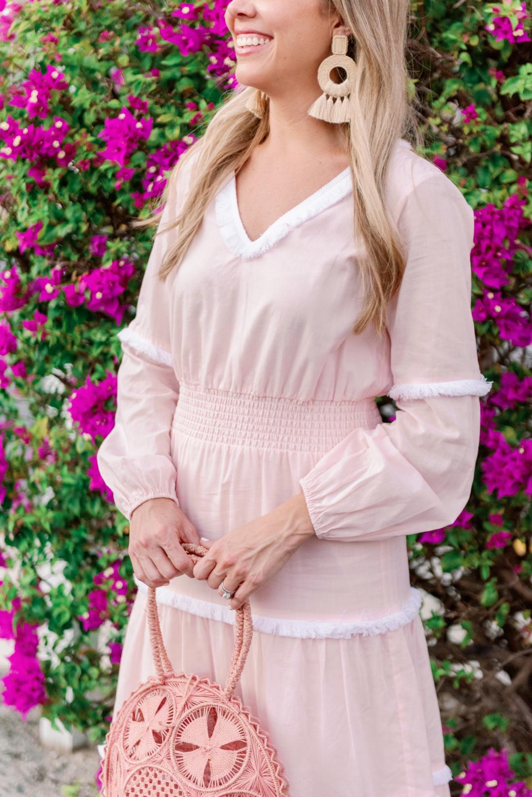Blush Pink Midi Dress with White Fringe