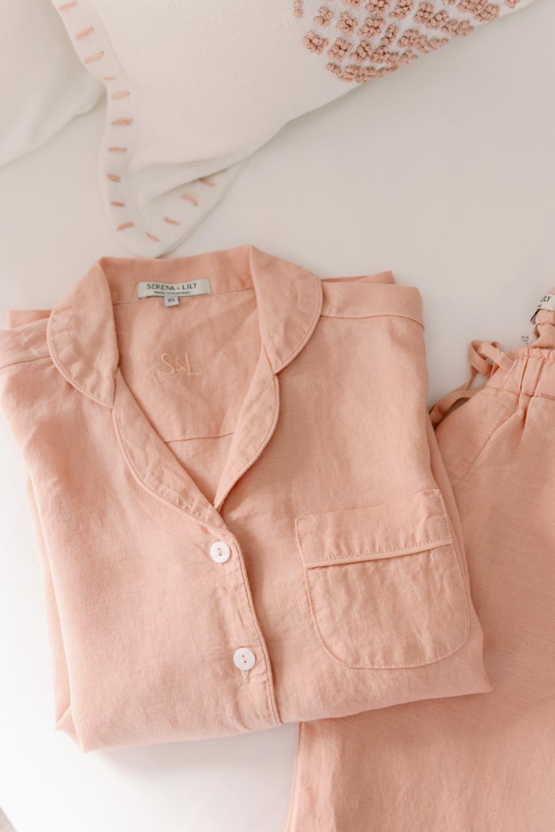 Serena & Lily Positano Linen Pajamas in Wild Rose