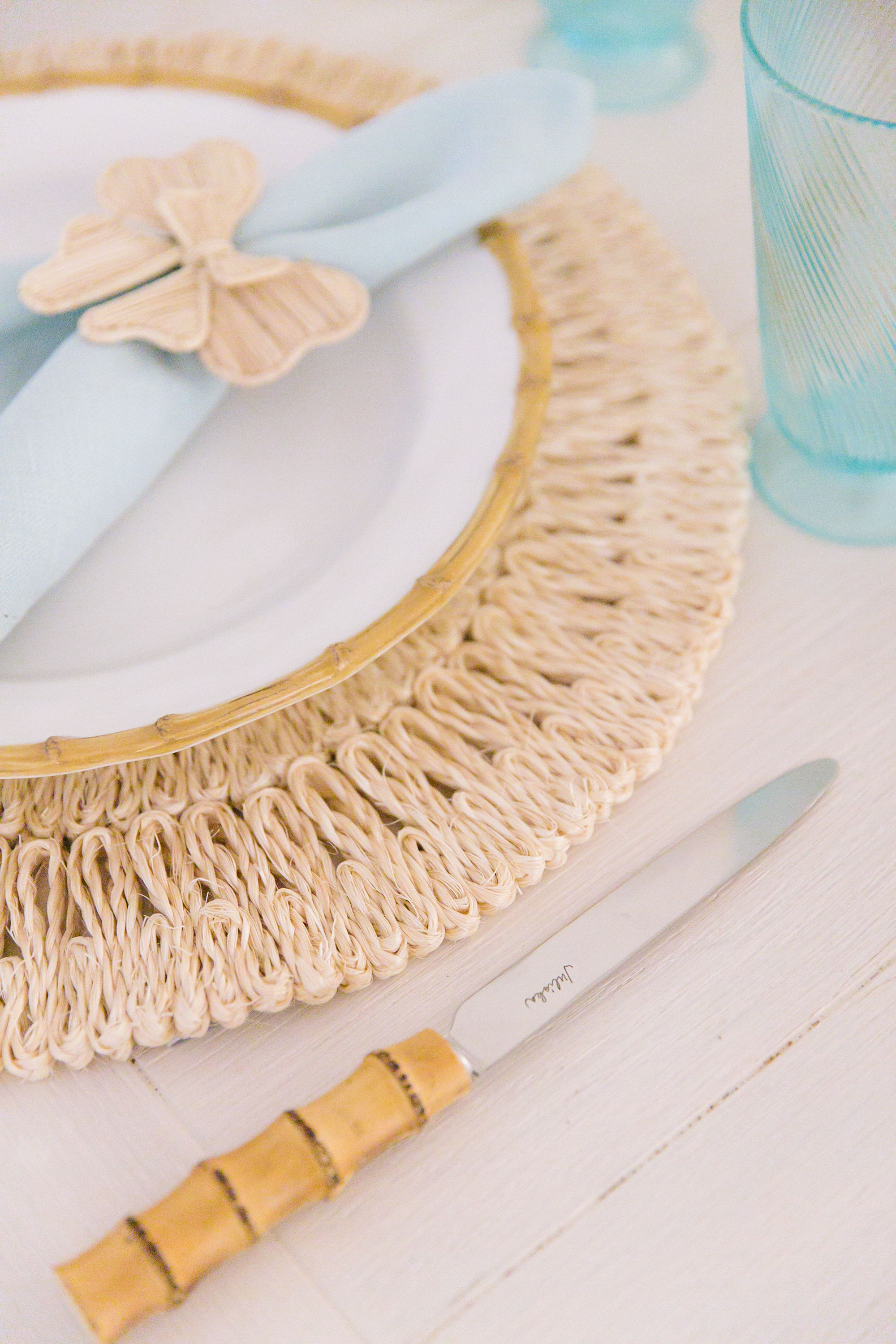 Bamboo plates and flatware